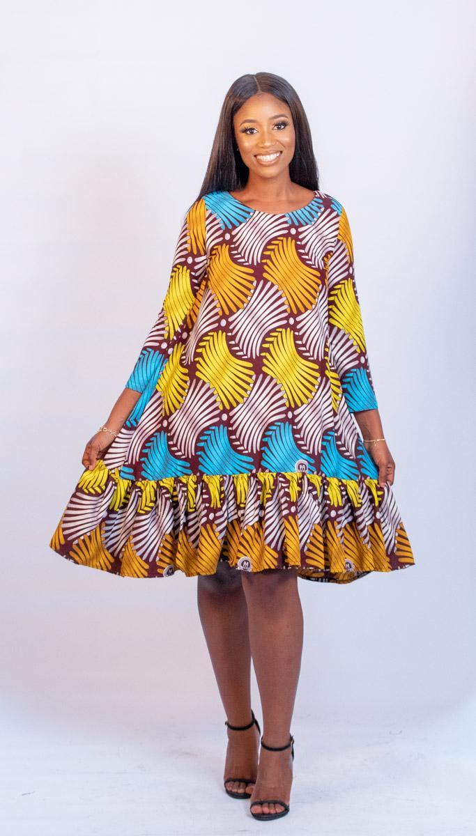 AFRICAN WAX PRINT SKNG DARA DRESS